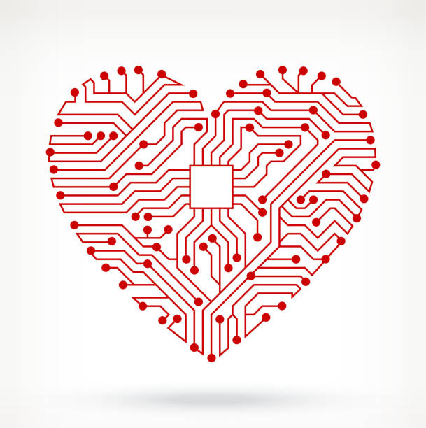 Illustration of red heart out of circuit board symbols. Circuit Board Hearts Symbol pattern stock illustrations