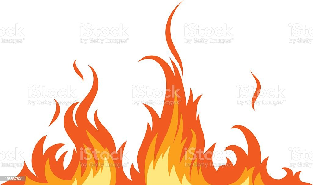 Illustration of red, orange and yellow fire flames on white vector art illustration