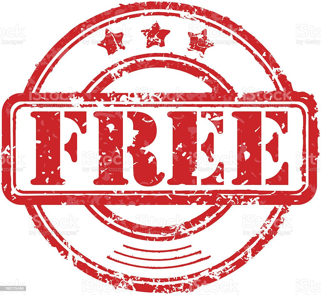 Illustration of red rubber stamp with word 'free' vector art illustration