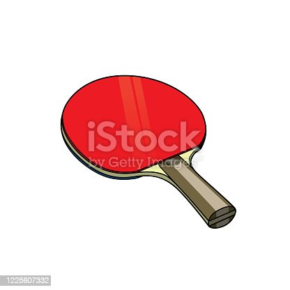 Illustration of red table tennis racket In a white background for assembling or creating teaching materials for moms doing homeschooling and teachers searching for images for teaching materials such as flashcards or children's books