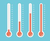illustration of red thermometers with different levels, flat style, EPS10.