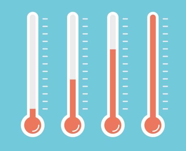 stockillustraties, clipart, cartoons en iconen met illustratie van rode thermometers met verschillende niveaus, vlakke stijl, eps10. - thermometer