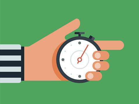 Illustration of referee's hand holding stop watch