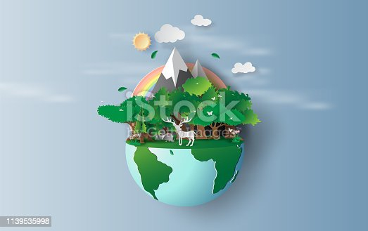 illustration of reindeer in green trees forest,Creative Origami design world environment and earth day concept idea. landscape Wildlife with Deer in green nature plant by rainbow pastel. paper cut,craft