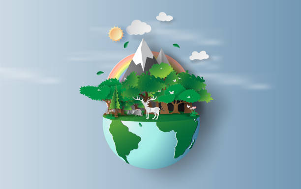 illustrazioni stock, clip art, cartoni animati e icone di tendenza di illustration of reindeer in green trees forest,creative origami design world environment and earth day concept idea. landscape wildlife with deer in green nature plant by rainbow pastel. paper cut,craft - terra