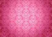 Illustration of repeating pink oriental pattern