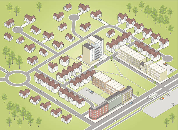 Illustration of residential district map vector art illustration
