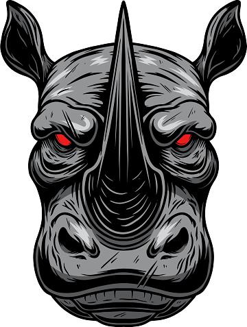 Illustration of rhino head. Design element for poster card, emblem, sign. Vector illustration