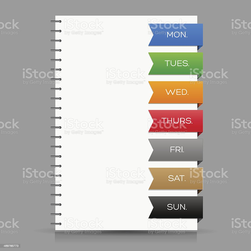 Illustration of ring bound diary with coloured daily markers vector art illustration