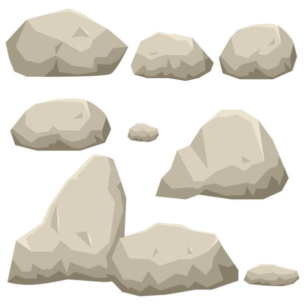 illustration of rock stone set - skała stock illustrations