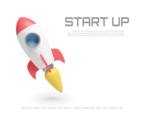 Illustration of rocket and copy space for start up business and bitcoins advertise.