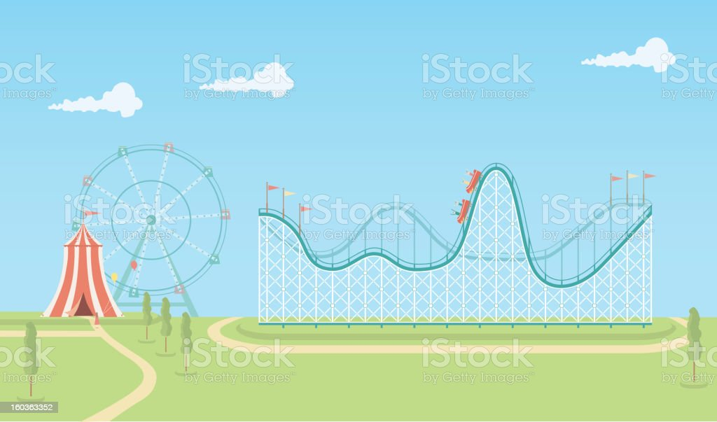 Illustration of roller coaster and ferris wheel