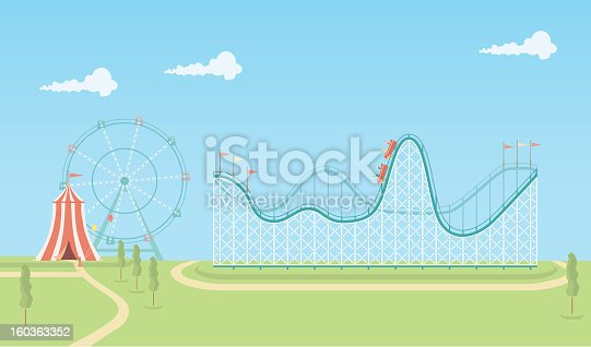 An illustrated scene of fairground on a bright day with rollercoaster, circus tent and ferris wheel. This is an easy to edit vector illustration with CMYK color space. Each element on the fairground is on a separate layer and can be easily edited.