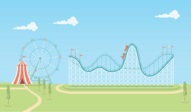 illustration of roller coaster and ferris wheel - roller coaster stock illustrations