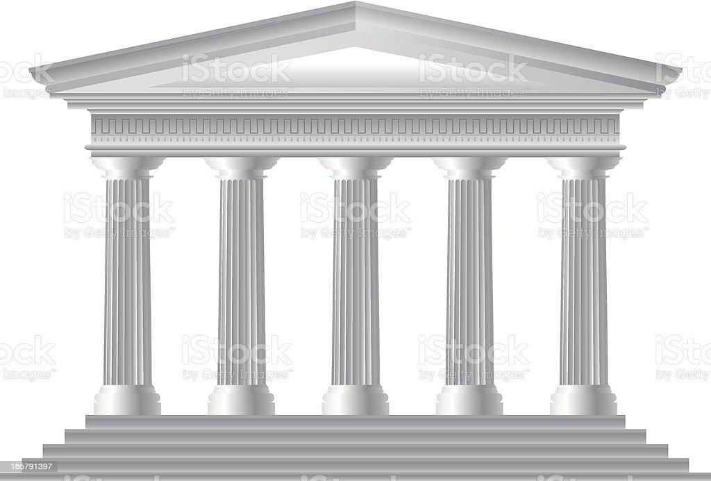 Illustration of Roman temple facade vector art illustration