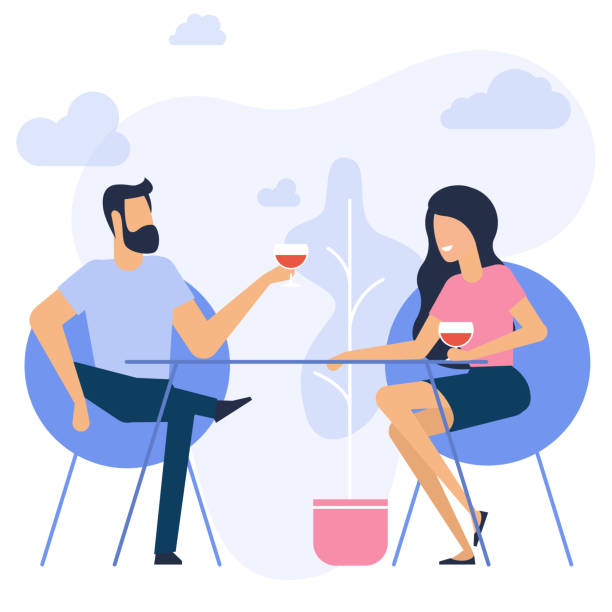 illustration of romantic date - date night stock illustrations
