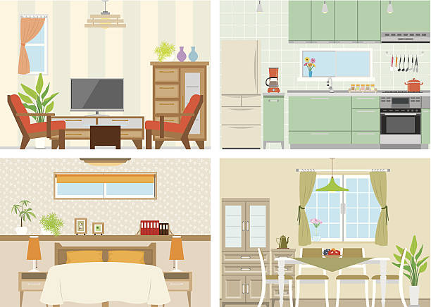 Illustration of room Design illustrations of the room kitchen stock illustrations