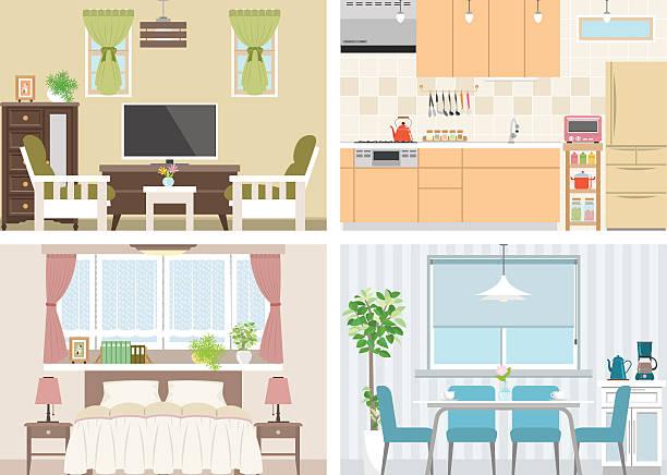 stockillustraties, clipart, cartoons en iconen met illustration of room - breakfast table