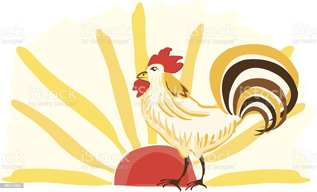 Illustration of rooster at sunrise - Royalty-free American Culture stock vector