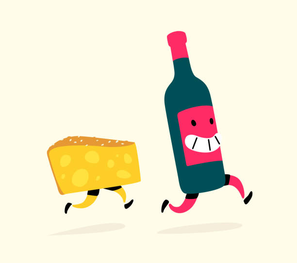 illustrazioni stock, clip art, cartoni animati e icone di tendenza di illustration of running cheese and a bottle of wine. vector. characters drink and snack. icons for the site on a light background. sign, logo for a wine shop or cheese factory. alcohol delivery. drinking culture. - aperitivo