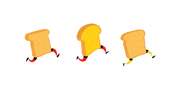 Illustration of running toasters. Running pieces of bread without butter and jam. Vector. Fry characters with legs. Icons for the site. Signs, logo for the store. Delivery of fresh bakery products.