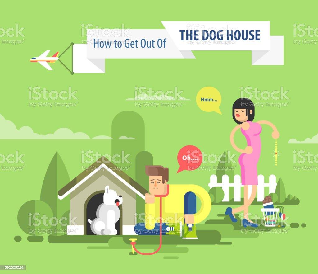 illustration of sad man sits beside a dog at the vector art illustration