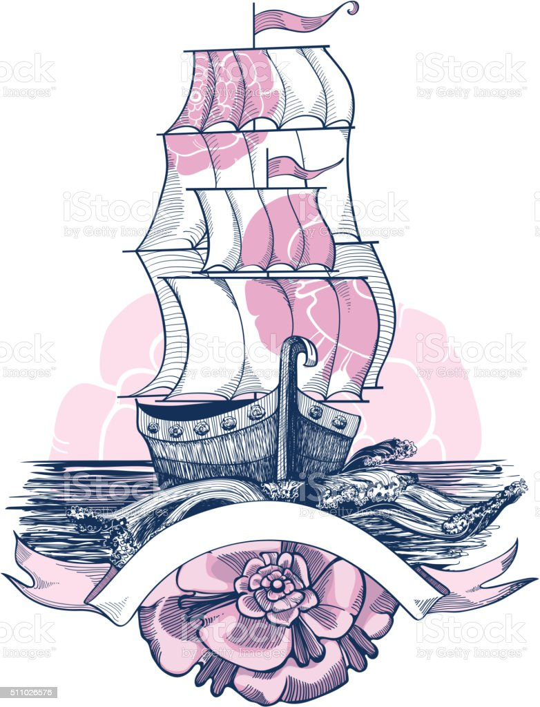 Illustration of sailing ship