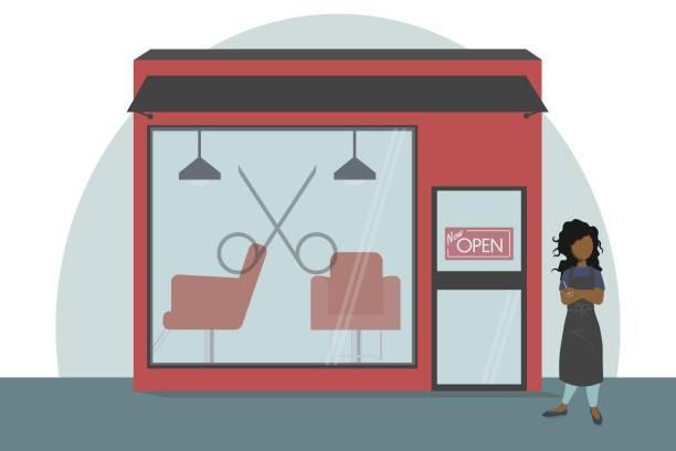 illustration of salon owner outside of salon - entrepreneurship stock illustrations