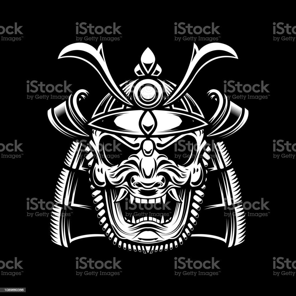Ilustración De Dibujo De Casco De Samurai En Tatuaje Estilo Aislado