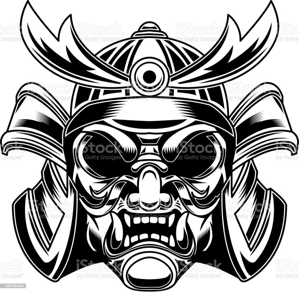 Illustration Of Samurai Helmet In Tattoo Style Isolated On
