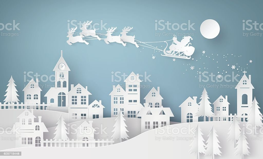 Illustration of Santa Claus on the sky coming to City