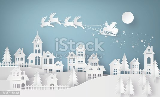 istock Illustration of Santa Claus on the sky coming to City 625715448