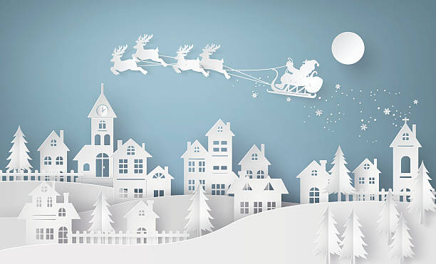 illustration of santa claus on the sky coming to city - weihnachten stock-grafiken, -clipart, -cartoons und -symbole
