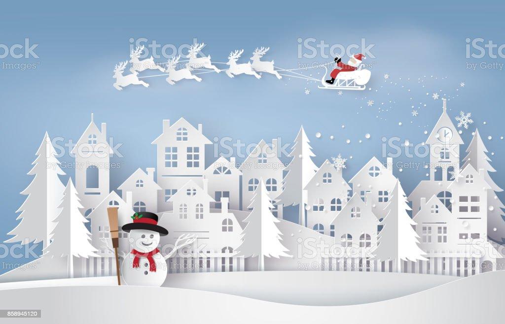 Ilustração de Papai Noel no céu chegando a cidade - ilustração de arte em vetor