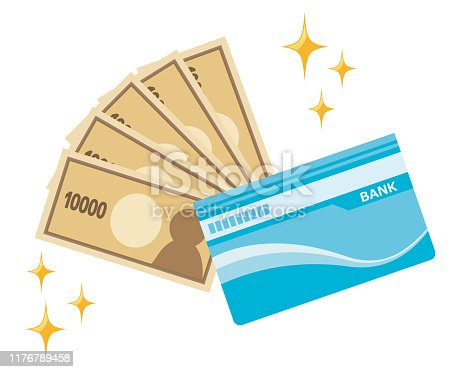 Illustration of saving money.Japanese yen.passbook.