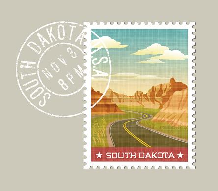 illustration of scenic Badlands. South Dakota, United States