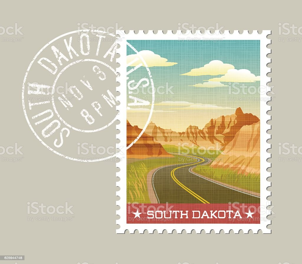 illustration of scenic Badlands. South Dakota, United States vector art illustration