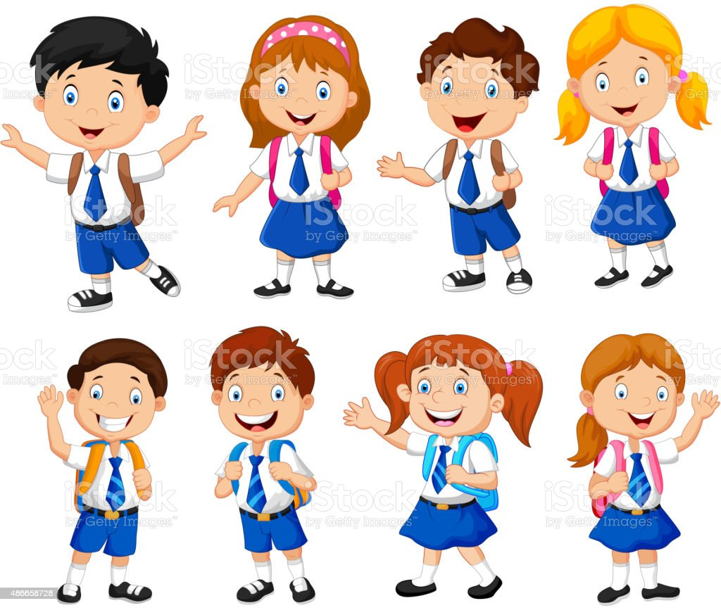 illustration of school children cartoon royalty free stock vector art - Cartoon Image Of Children