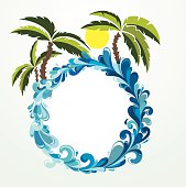 Illustration of seaside.Summer frame