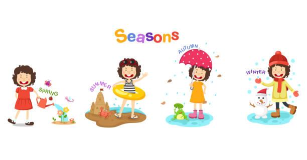 ilustracja pór roku - four seasons stock illustrations