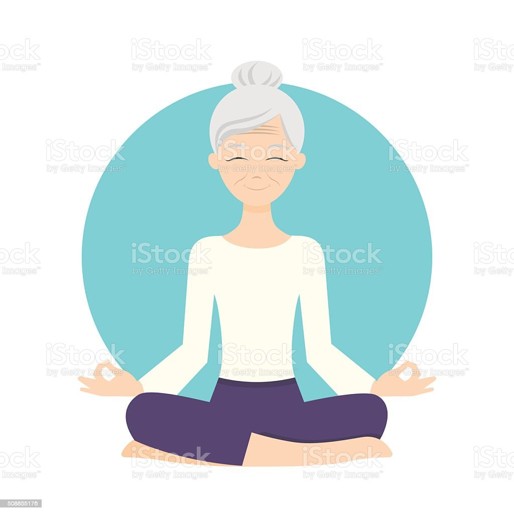 Illustration of senior woman practicing yoga exercises. vector art illustration
