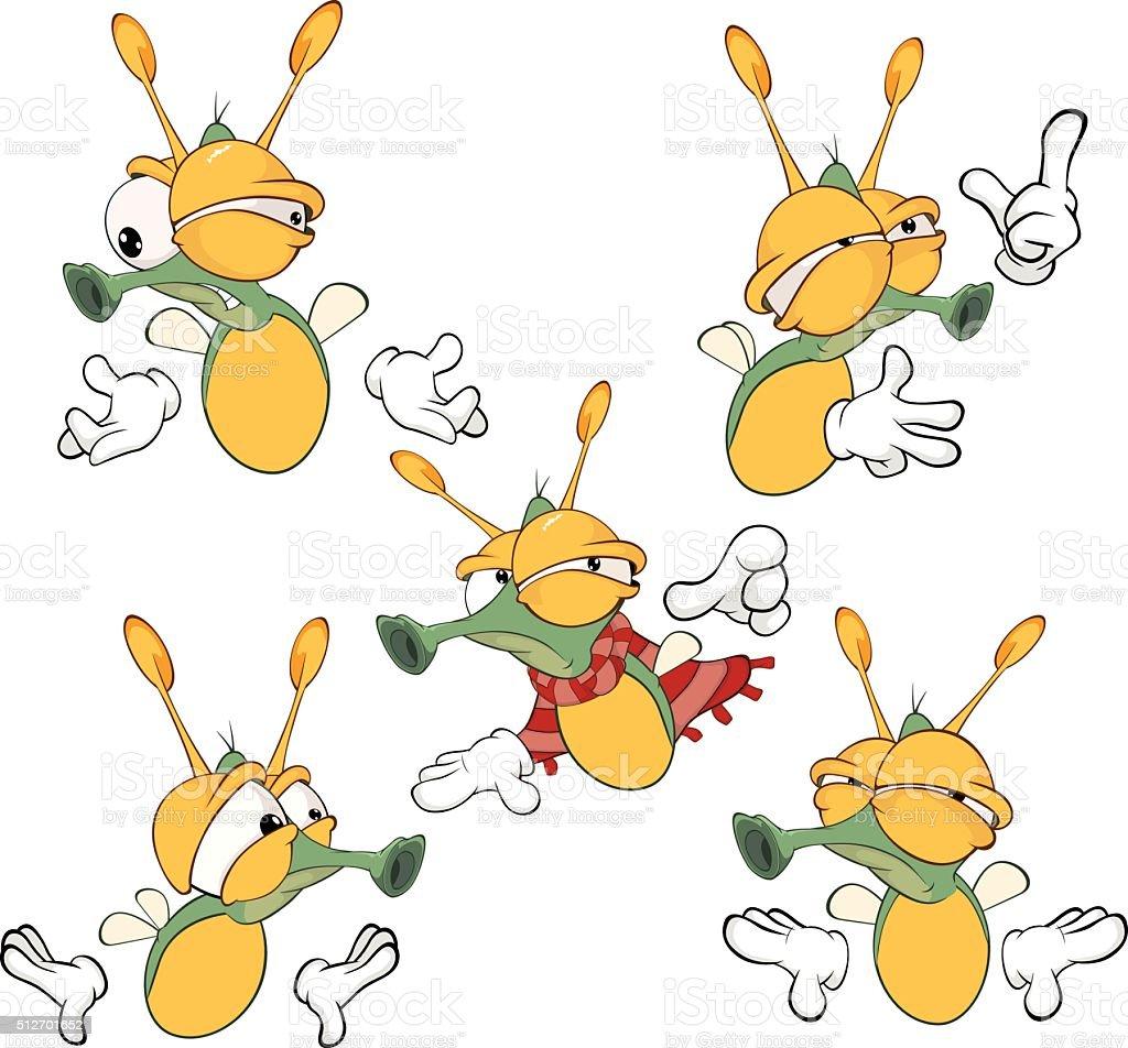 Illustration Of Set Of Cute Cartoon Fireflies Stock Vector ...
