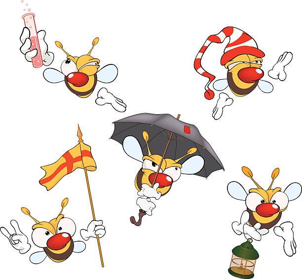 illustration of  set of cute cartoon yellow bees vector art illustration