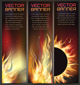 Vector illustration of set of fire flame banner