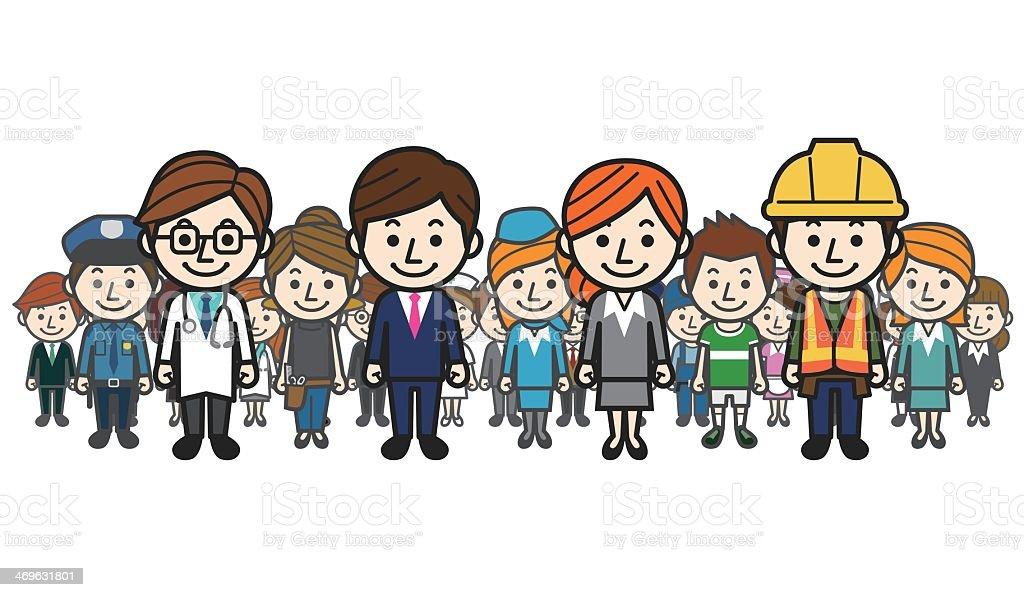 Illustration of several occupations vector art illustration