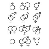 illustration of Sexual orientation icons set. Gender and sex concept