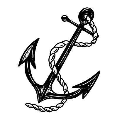 Illustration of ship anchor in monochrome style. Design element for label, sign, emblem, poster. Vector illustration