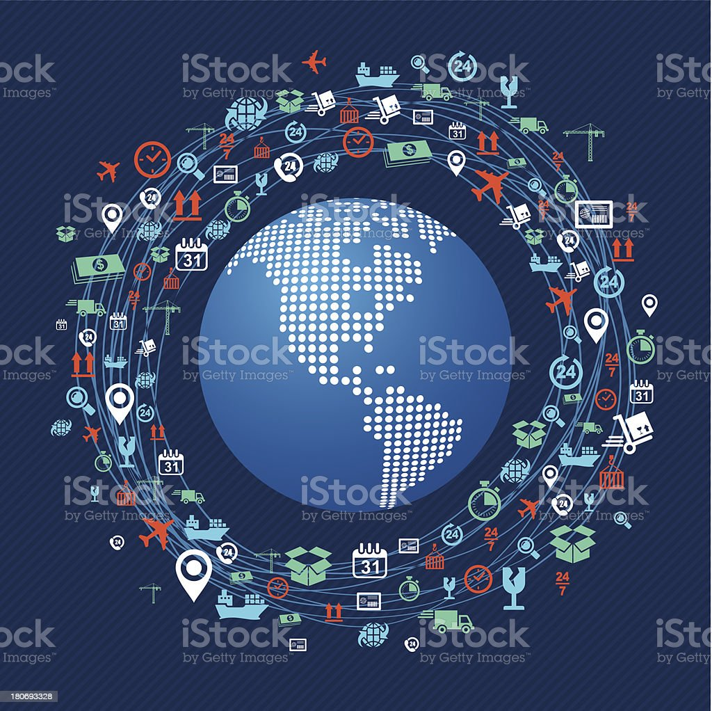 Illustration of shipping icons around a globe vector art illustration