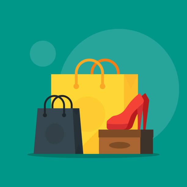 illustrations, cliparts, dessins animés et icônes de illustration de chaussure et de cosmétiques avec sac shopping liste vente - vitrine magasin