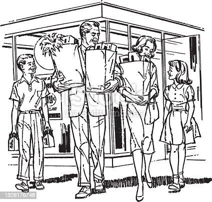 Illustration of shopping family
